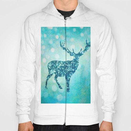 Aqua Turquoise Animal with Glitter Effect -Blue deer Hoody