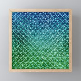 Mermaid Blue & Green Glitter Ombre Scales Framed Mini Art Print