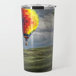 Hot Air Balloons over Green Fields Travel Mug