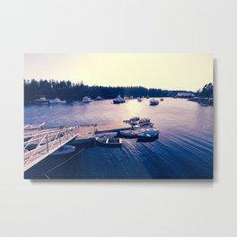 Winter Harbor Sundown Metal Print