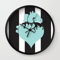 pastel goth Wall Clocks featuring Pastel Goth Heart by Minette Wasserman