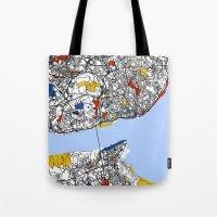 mondrian Tote Bags featuring Lisbon mondrian by Mondrian Maps
