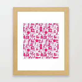 Sewing tools silhouetes. Framed Art Print