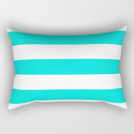 Bright turquoise - solid color - white stripes pattern Rectangular Pillow