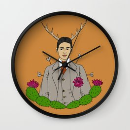 Frida Khalo Antlers and Arrows Wall Clock