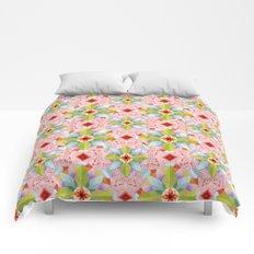 Pink Paisley Flowers Comforters