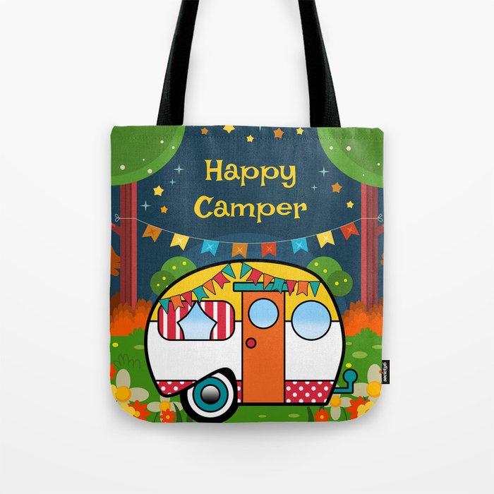736248b32f23 Happy Camper Retro RV Tote Bag by folknfunky
