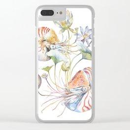 Nautilus and Lotus Surreal Watercolor Sea Animal Botanical Design Clear iPhone Case