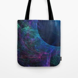 Abstract colorful shiny print graphic with planet space Tote Bag