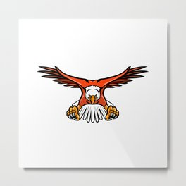 Bald Eagle Swooping Front Mascot Metal Print