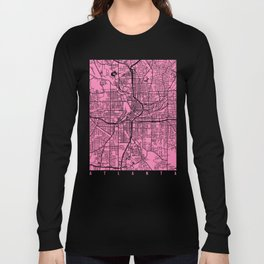 Atlanta map pink Long Sleeve T-shirt