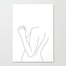 Nude figure line drawing illustration - Fina Canvas Print