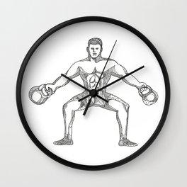 Fitness Athlete Lifting Kettlebell Doodle Art Wall Clock