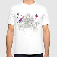 ECHOES by Peter Striffolino and Kris Tate MEDIUM White Mens Fitted Tee