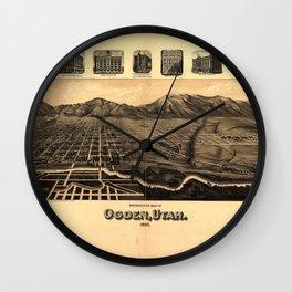 Perspective Map of Ogden, Utah (1890) Wall Clock