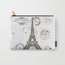 Art hand drawn design with Eifel tower. Old postcard style Carry-All Pouch