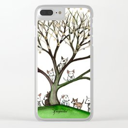 Bull Terriers Whimsical Dogs in Tree Clear iPhone Case
