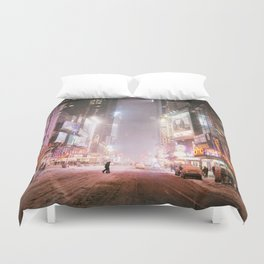 New York City Colorful Snowy Night in Times Square Duvet Cover