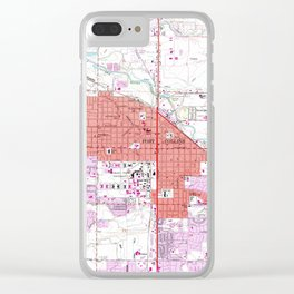 Vintage Map of Fort Collins Colorado (1960) Clear iPhone Case
