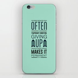 Lab No. 4 Being defeated is often a temporary condition Marilyn vos savant Quote poster iPhone Skin