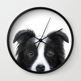 border collie Original painting print by miart Wall Clock