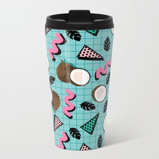 More Coconuts tropical summer vibes memphis abstract pattern print design by wacka Metal Travel Mug