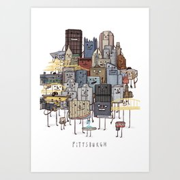 Pittsburgh Skyline group picture- art print Art Print