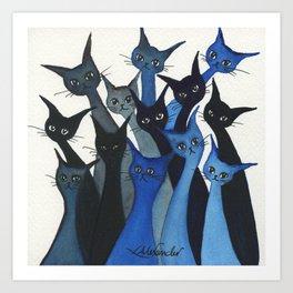 Escondido Whimsical Cats Art Print