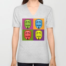 Pop Art Pixel Fawkes Unisex V-Neck