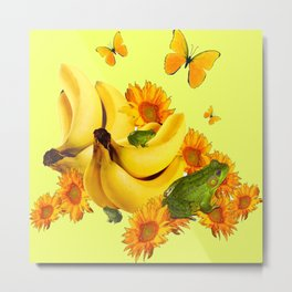 GREEN FROGS BANANAS SUNFLOWERS BUTTERFLY DESIGN Metal Print