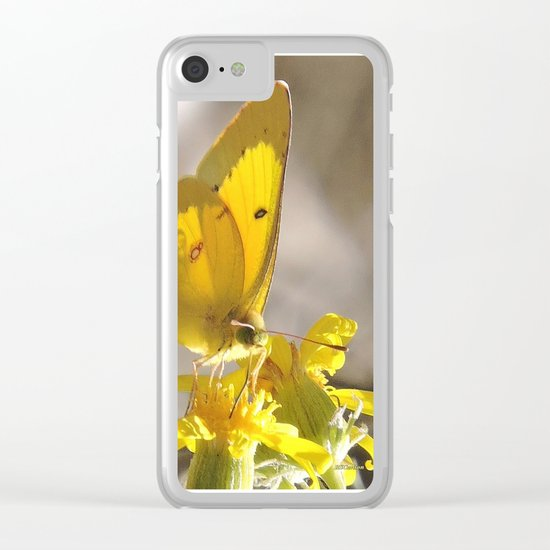 Sulphur Butterfly Imbibing Clear iPhone Case