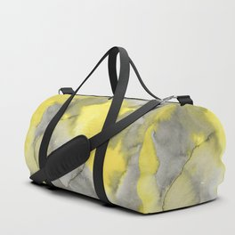 Hand painted gray yellow abstract watercolor pattern Duffle Bag