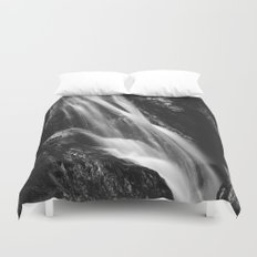 Black and white waterfall in Hell Gorge, Slovenia Duvet Cover