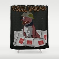 pitbull Shower Curtains featuring Pitbull Warfare by dr.Mador