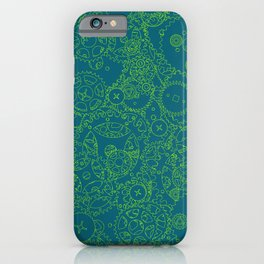 Clockwork Turquoise & Lime / Cogs and clockwork parts lineart pattern iPhone Case