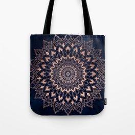Boho rose gold floral mandala on navy blue watercolor Tote Bag