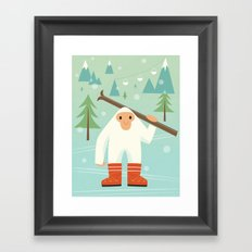 Yeti skieur Framed Art Print