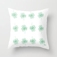 clover Throw Pillows featuring Clover by k.a.r.o.l.inka