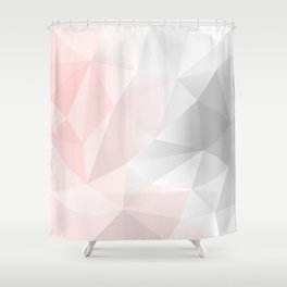 pink and gray geometric low poly background Shower Curtain