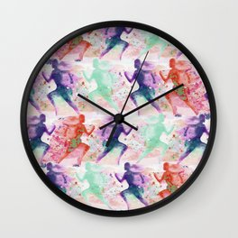 Watercolor women runner pattern with red mint and dark purple Wall Clock