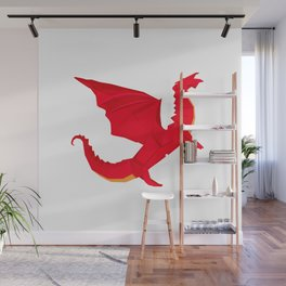 Origami Red Dragon Wall Mural