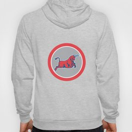 Bull Attacking Charging Circle Retro Hoody