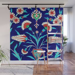 An Ottoman Iznik style floral design pottery polychrome, by Adam Asar, No 48L painting Wall Mural