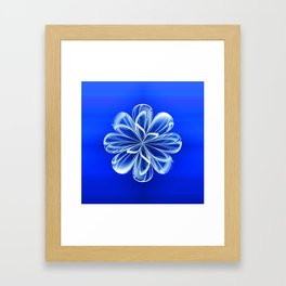 White Bloom on Blue Framed Art Print