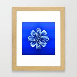 White Bloom on Blue Framed Art Print