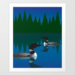 Loons in a Woodland Lake Art Print