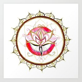 Lotus - Pink flourish Mandala Art Print