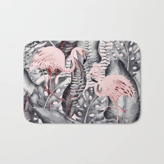 Flamingo Love- Watercolor Birds in Pink and Grey color on #Society6 Bath Mat