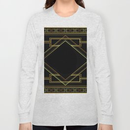 art deco gatsby black and gold lines geometric pattern Long Sleeve T-shirt