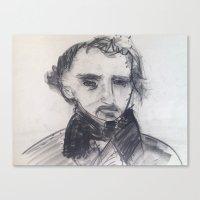 edgar allen poe Canvas Prints featuring Edgar Allen Poe by Samuel Joshua Elkin